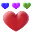 colour 3d hearts vector image vector image