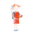 A Little Girl Going to School vector image vector image