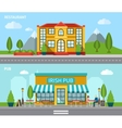 Cafe Flat Banner Set vector image