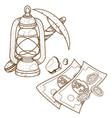 pickaxe and oil lamp icon useful resources vector image