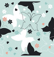 seamless pattern with cute butterflies vector image