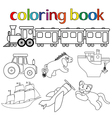 Set of different toys for coloring book vector image