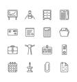 Outline icon set - office workspace vector image