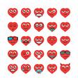 Set heart emoticons vector image