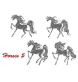 Gray horses in different expressions vector image