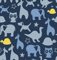 Seamless print with cartoon animals vector image