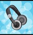 Headphones on blue circular glowing background vector image