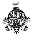Merry Christmas retro poster with hand lettering vector image
