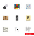 flat icon play set of ace labyrinth chequer and vector image