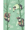 Funny bears are sitting on trees vector image