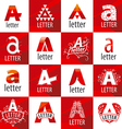 large set of logos letter A vector image