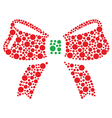 Christmas red and green bow icon made of circles vector image