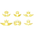 Golden crown with wings vector image