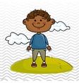 boy kid cloud meadow icon vector image