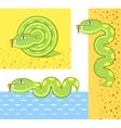 green snake cartoon vector image vector image