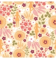 Girls among flowers seamless pattern background vector image vector image