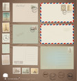 set Vintage postcard designs envelopes and stamps vector image