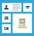 flat icon laptop set of technology pc vintage vector image