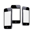 Three black smartphones isolated on white vector image