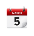 March 5 flat daily calendar icon Date and vector image