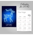Bright calendar with silhouette reindeer garland vector image