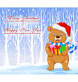 Cartoon bear holding gifts with winter background vector image