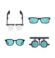 glasses icon set flat style vector image