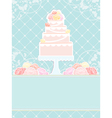 Pink cake and roses vector image