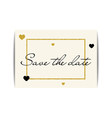 Wedding invitation with gold glitter hearts Save vector image