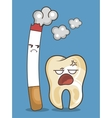 cigarette and teeth character icon vector image