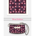 Cosmetic Bag With Pink Floral Ornament vector image