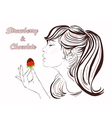 Pretty girl eating strawberry and chocolate vector image vector image