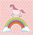 character unicorn rainbow cloud hearts background vector image