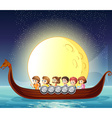 Children and boat vector image