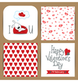 set with dog dreaming and patterns with hearts vector image vector image