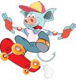 Cute Devil Skateboarding Cartoon vector image