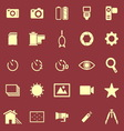 Camera color icons on red background vector image