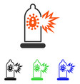 Condom infection damage flat icon vector image