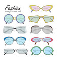 hand drawn fashion sunglasses set realistic vector image