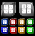 Dices icon sign Set of ten colorful buttons with vector image