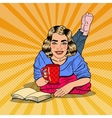 Pop Art Woman Drinking Coffee and Reading Book vector image vector image