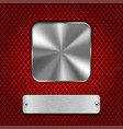 metal square button with rectangle plate on red vector image