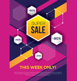 bright colorful sale banner with hexagons vector image