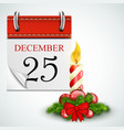 25 December Opened Calendar With Candle vector image