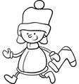 santa claus boy cartoon coloring page vector image vector image