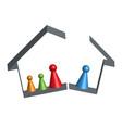 building broken family home in 3d vector image