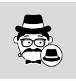cartoon hipster hat vintage background vector image