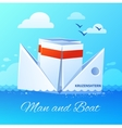 Floating Paper Boat Flat Icon Poster vector image