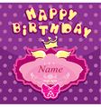 Happy birthday - Invitation card for girl vector image