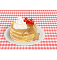 pancakes on a checkered tablecloth vector image